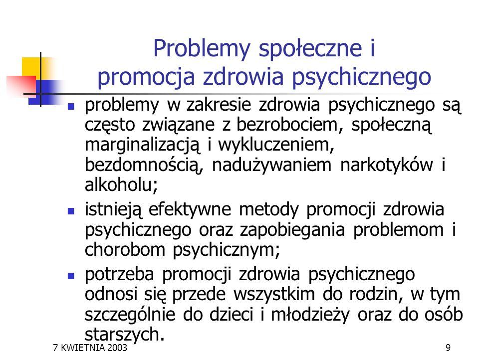 Problemy społeczne i promocja zdrowia psychicznego