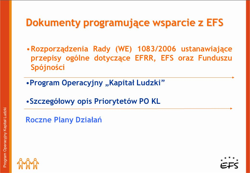 Dokumenty programujące wsparcie z EFS