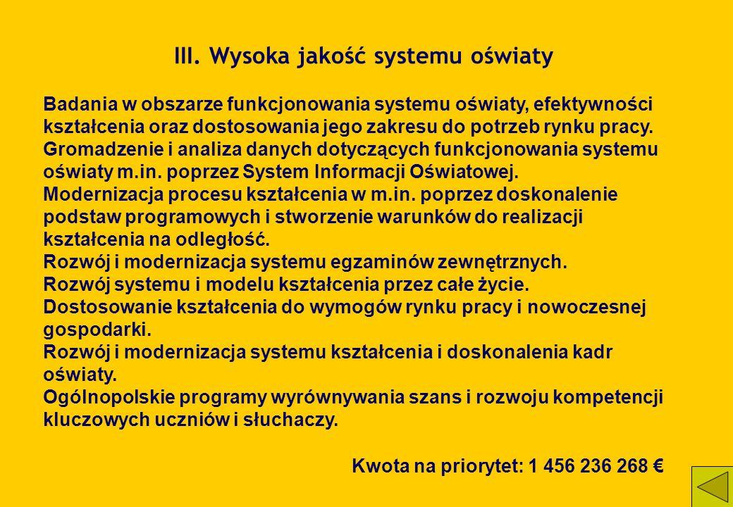 III. Wysoka jakość systemu oświaty