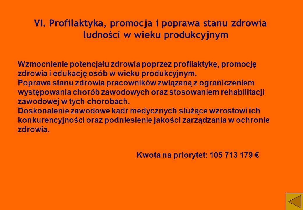 VI. Profilaktyka, promocja i poprawa stanu zdrowia ludności w wieku produkcyjnym