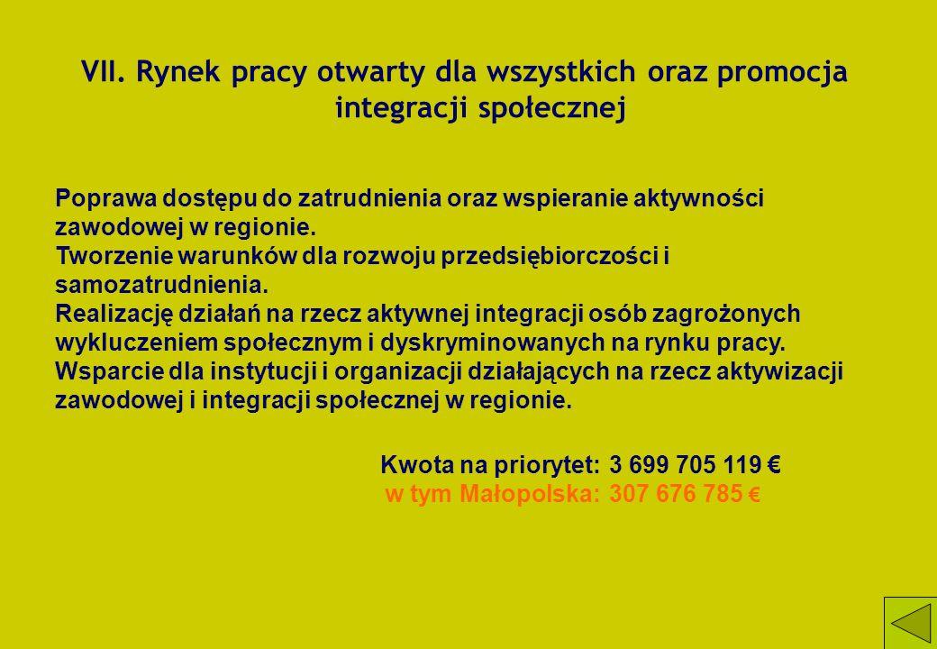 VII. Rynek pracy otwarty dla wszystkich oraz promocja integracji społecznej