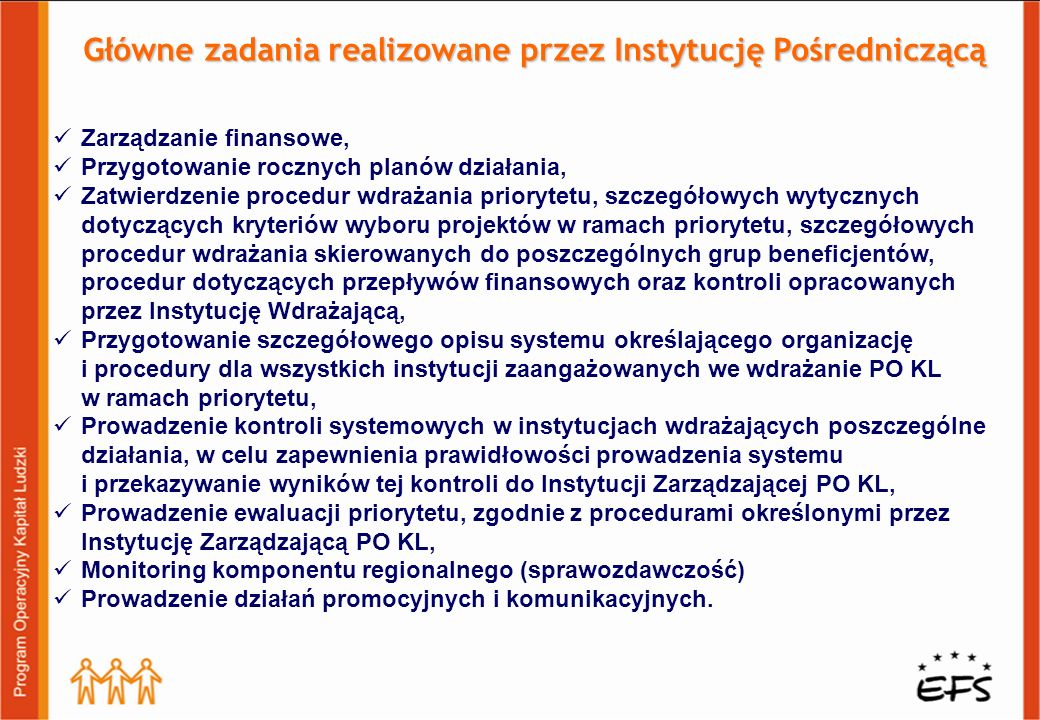 Główne zadania realizowane przez Instytucję Pośredniczącą