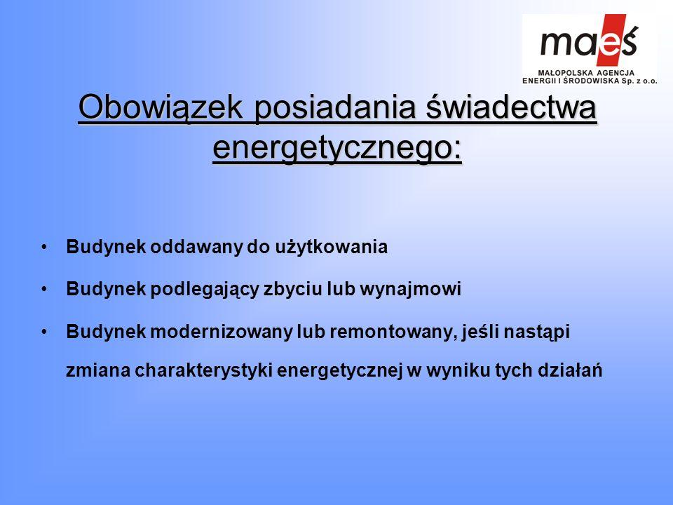 Obowiązek posiadania świadectwa energetycznego: