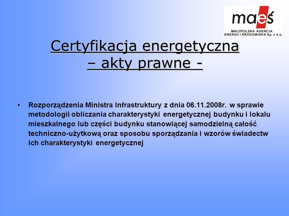 Certyfikacja energetyczna – akty prawne -