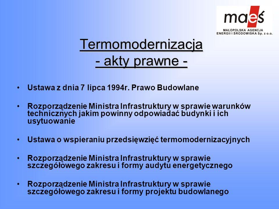 Termomodernizacja - akty prawne -
