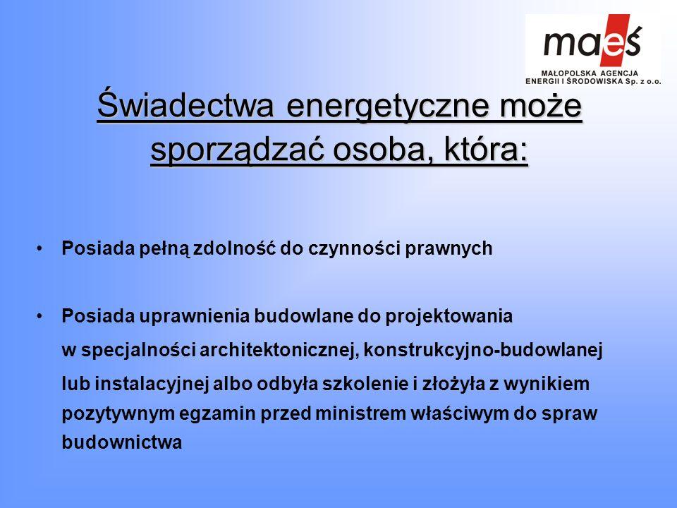 Świadectwa energetyczne może sporządzać osoba, która: