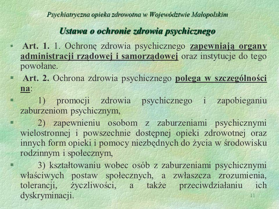 Art. 2. Ochrona zdrowia psychicznego polega w szczególności na:
