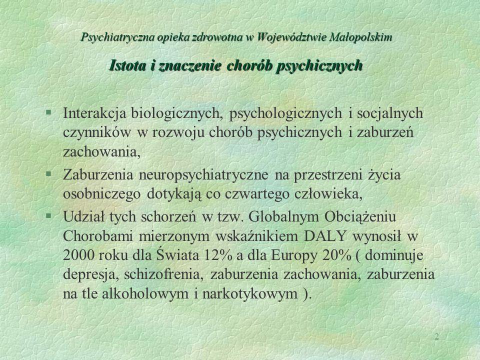 Psychiatryczna opieka zdrowotna w Województwie Małopolskim Istota i znaczenie chorób psychicznych