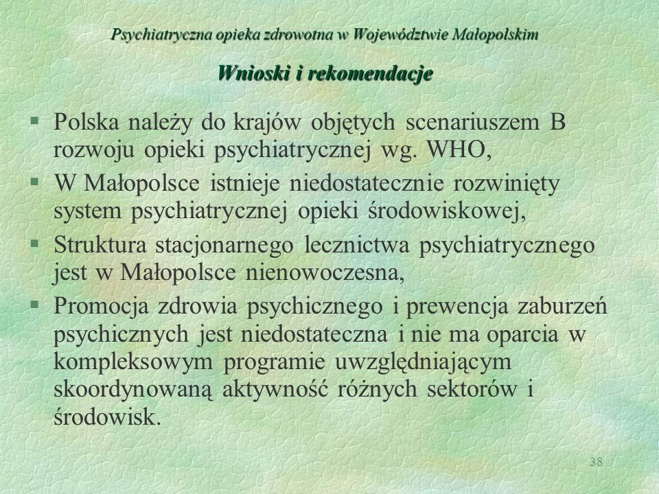 Psychiatryczna opieka zdrowotna w Województwie Małopolskim Wnioski i rekomendacje