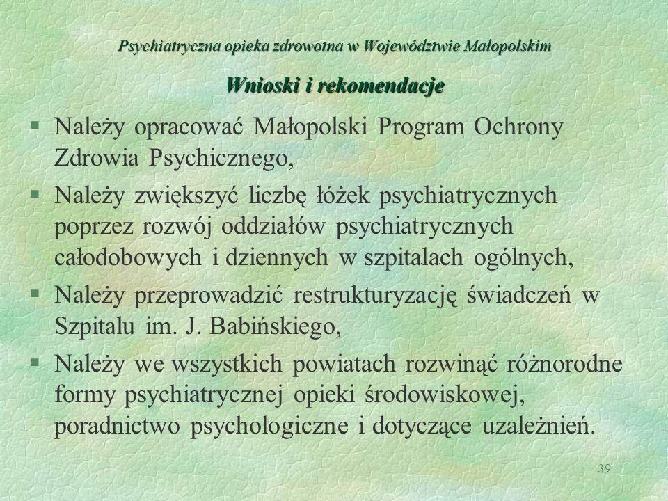 Należy opracować Małopolski Program Ochrony Zdrowia Psychicznego,