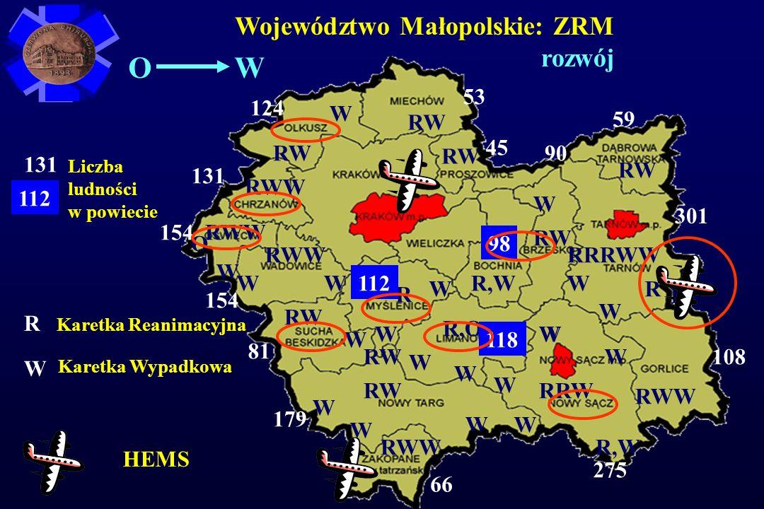O W Województwo Małopolskie: ZRM rozwój 53 124 W RW 59 45 RW RW 90 131