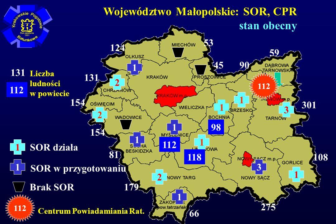 Województwo Małopolskie: SOR, CPR stan obecny