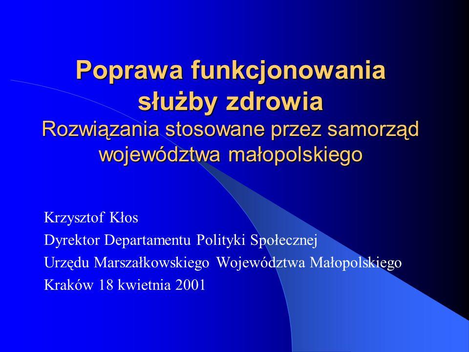 Poprawa funkcjonowania służby zdrowia Rozwiązania stosowane przez samorząd województwa małopolskiego