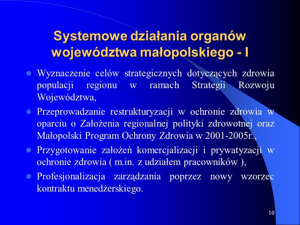 Systemowe działania organów województwa małopolskiego - I