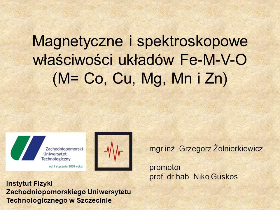 Magnetyczne i spektroskopowe właściwości układów Fe-M-V-O (M= Co, Cu, Mg, Mn i Zn)