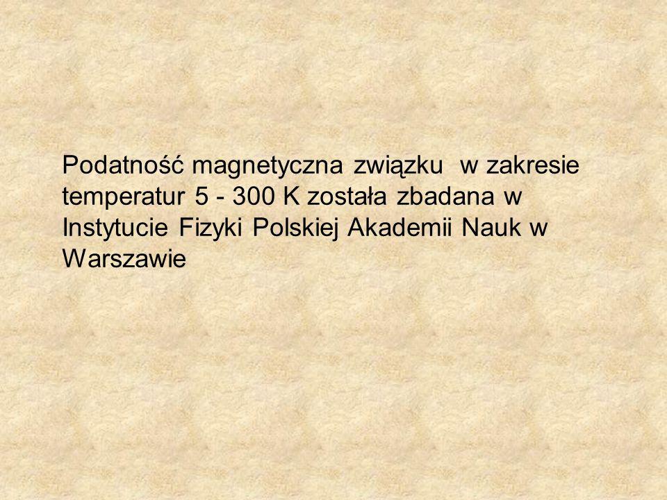 Podatność magnetyczna związku w zakresie temperatur 5 - 300 K została zbadana w Instytucie Fizyki Polskiej Akademii Nauk w Warszawie