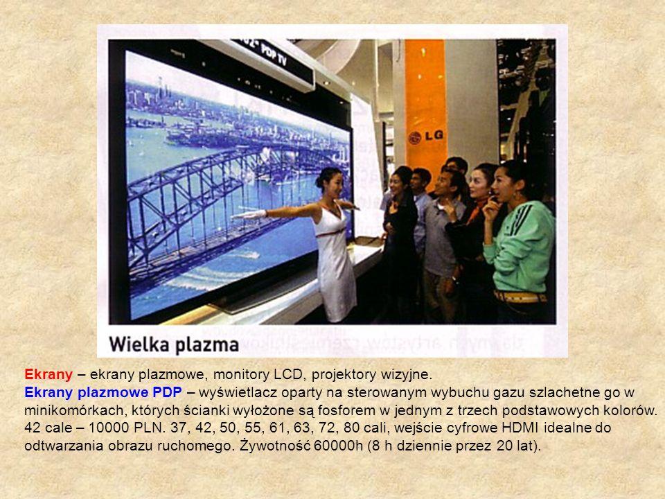 Ekrany – ekrany plazmowe, monitory LCD, projektory wizyjne.