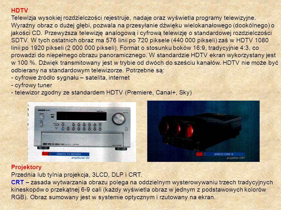 HDTV Telewizja wysokiej rozdzielczości rejestruje, nadaje oraz wyświetla programy telewizyjne.