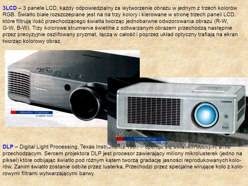 3LCD – 3 panele LCD, każdy odpowiedzialny za wytworzenie obrazu w jednym z trzech kolorów