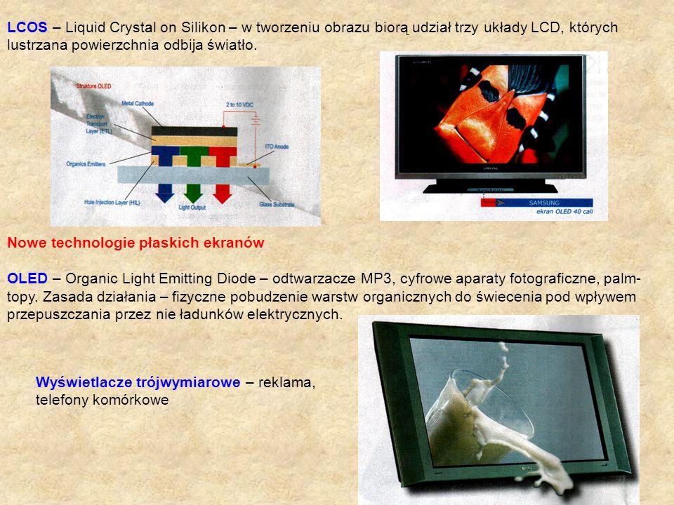 LCOS – Liquid Crystal on Silikon – w tworzeniu obrazu biorą udział trzy układy LCD, których