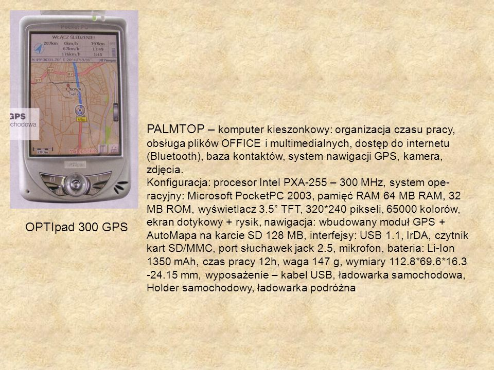 PALMTOP – komputer kieszonkowy: organizacja czasu pracy,