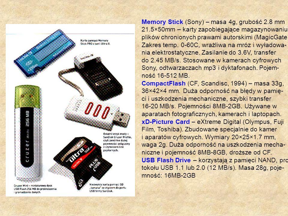 Memory Stick (Sony) – masa 4g, grubość 2.8 mm
