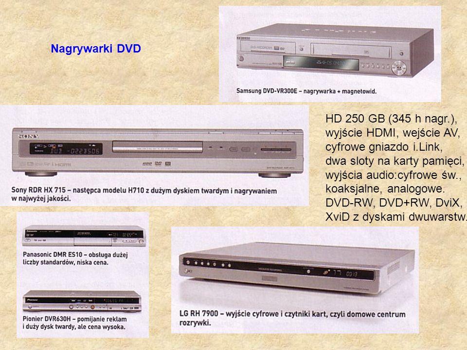 Nagrywarki DVD HD 250 GB (345 h nagr.), wyjście HDMI, wejście AV, cyfrowe gniazdo i.Link, dwa sloty na karty pamięci,