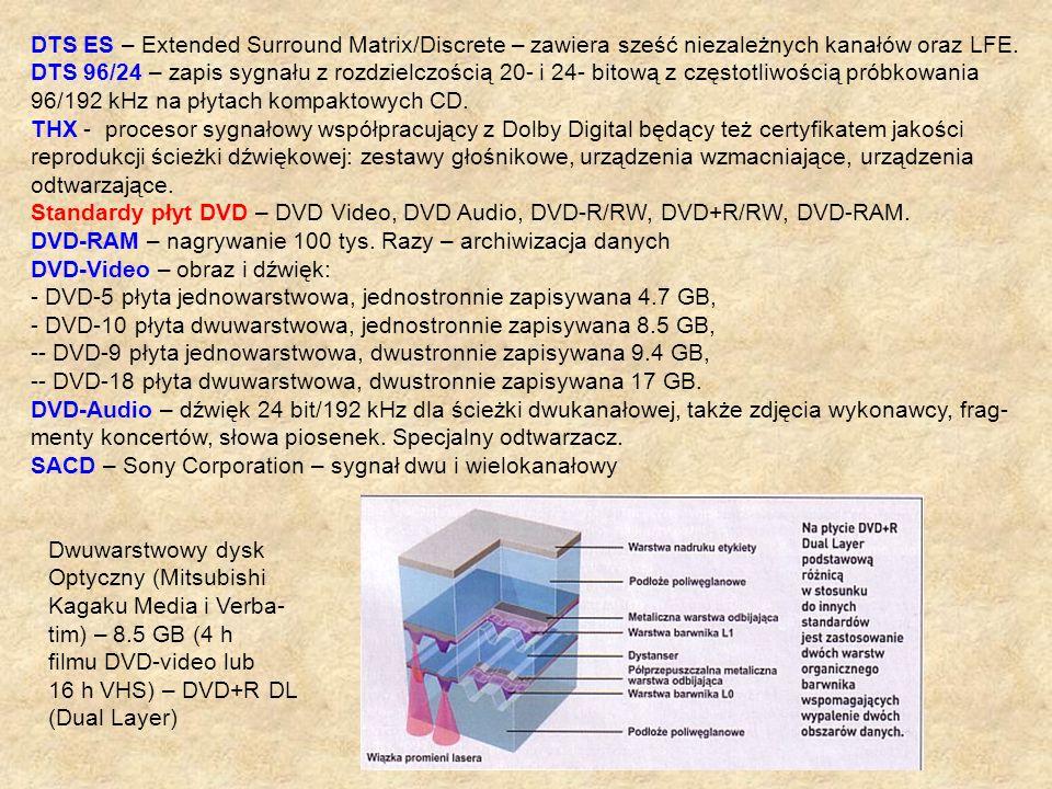 DTS ES – Extended Surround Matrix/Discrete – zawiera sześć niezależnych kanałów oraz LFE.