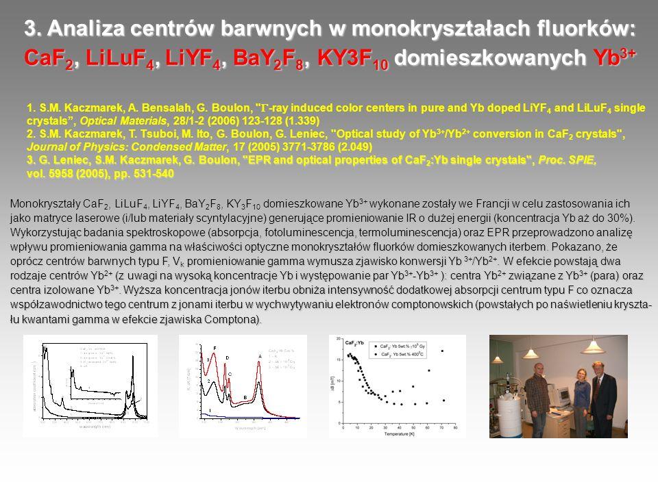 3. Analiza centrów barwnych w monokryształach fluorków: