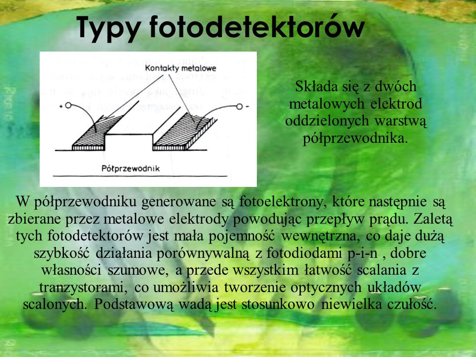 Typy fotodetektorów Składa się z dwóch metalowych elektrod oddzielonych warstwą półprzewodnika.