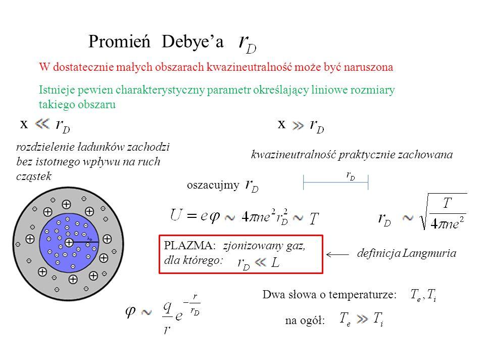 Promień Debye'a W dostatecznie małych obszarach kwazineutralność może być naruszona.