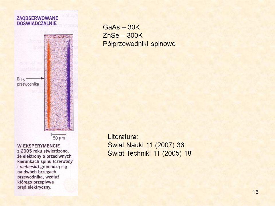 GaAs – 30K ZnSe – 300K. Półprzewodniki spinowe. Literatura: Świat Nauki 11 (2007) 36.