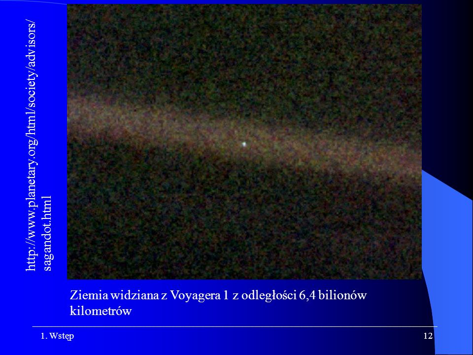 Ziemia widziana z Voyagera 1 z odległości 6,4 bilionów kilometrów