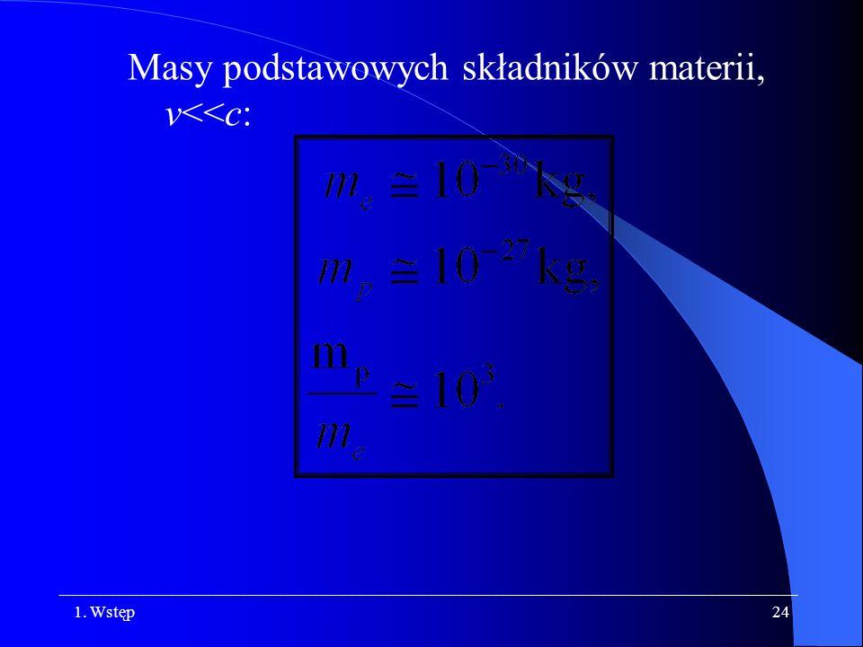 Masy podstawowych składników materii, v<<c: