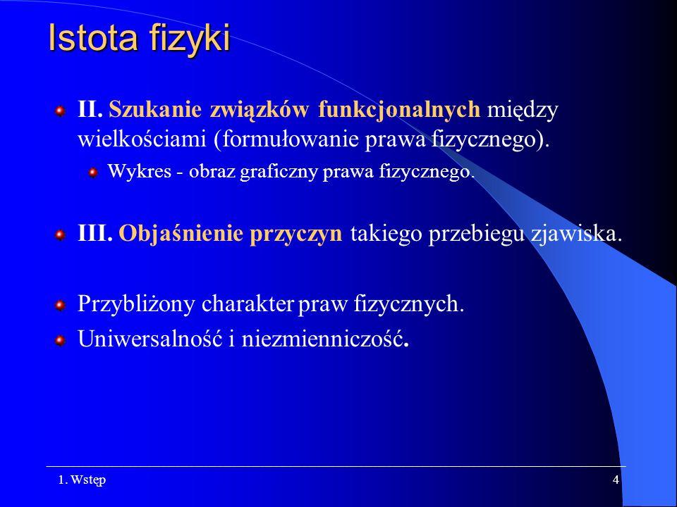 Istota fizykiII. Szukanie związków funkcjonalnych między wielkościami (formułowanie prawa fizycznego).