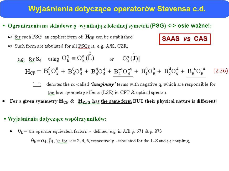 Wyjaśnienia dotyczące operatorów Stevensa c.d.