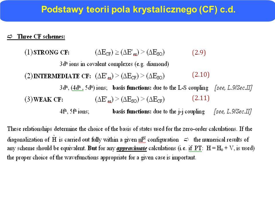 Podstawy teorii pola krystalicznego (CF) c.d.