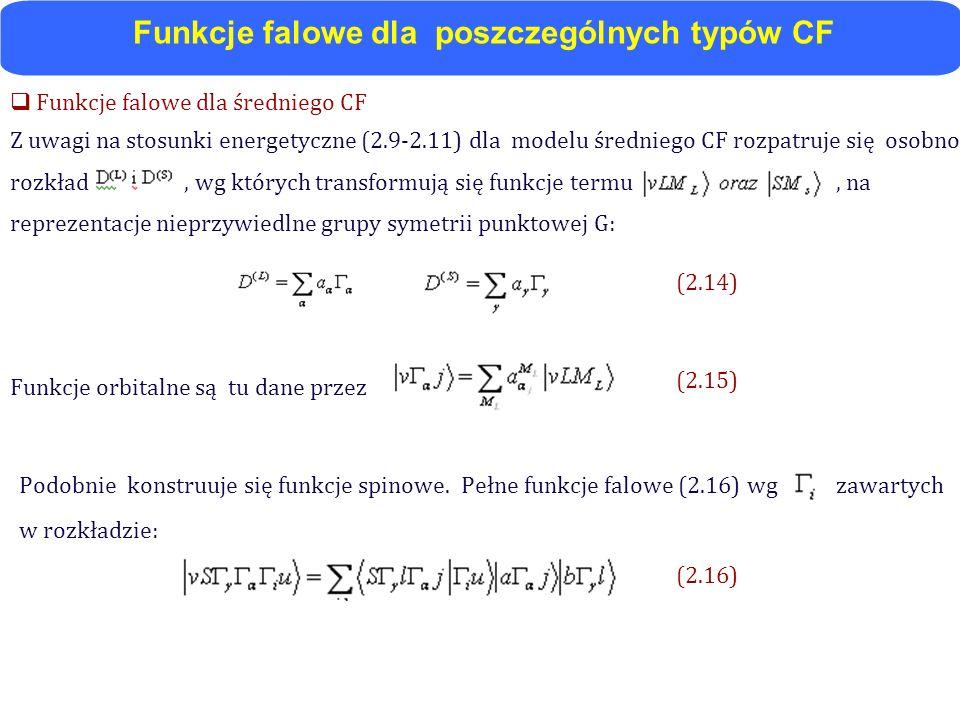 Funkcje falowe dla poszczególnych typów CF
