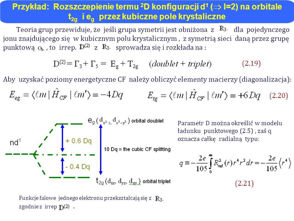 Przykład: Rozszczepienie termu 2D konfiguracji d1 ( l=2) na orbitale