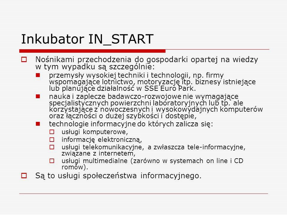 Inkubator IN_START Nośnikami przechodzenia do gospodarki opartej na wiedzy w tym wypadku są szczególnie: