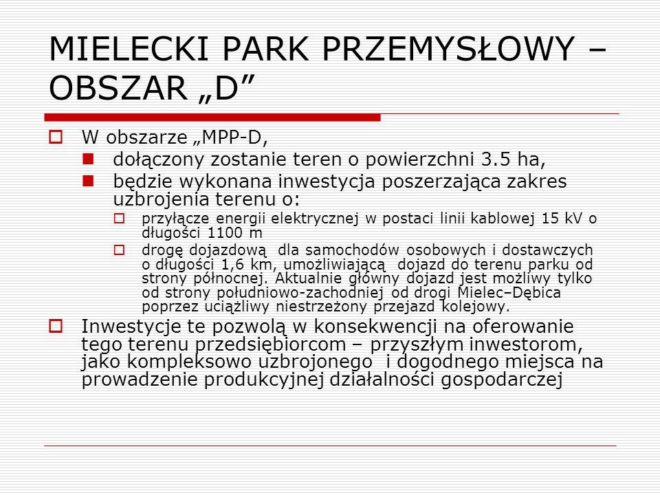 """MIELECKI PARK PRZEMYSŁOWY – OBSZAR """"D"""
