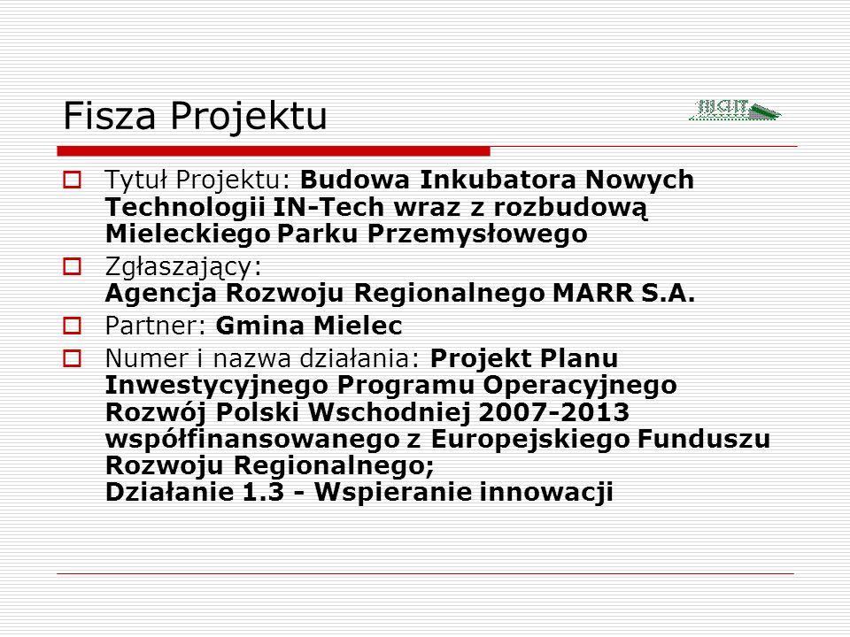Fisza Projektu Tytuł Projektu: Budowa Inkubatora Nowych Technologii IN-Tech wraz z rozbudową Mieleckiego Parku Przemysłowego.