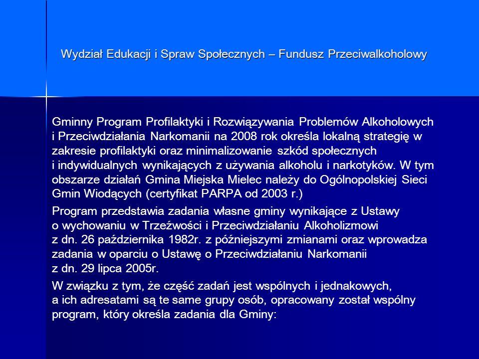 Wydział Edukacji i Spraw Społecznych – Fundusz Przeciwalkoholowy