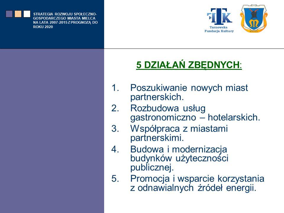 5 DZIAŁAŃ ZBĘDNYCH: Poszukiwanie nowych miast partnerskich. Rozbudowa usług gastronomiczno – hotelarskich.
