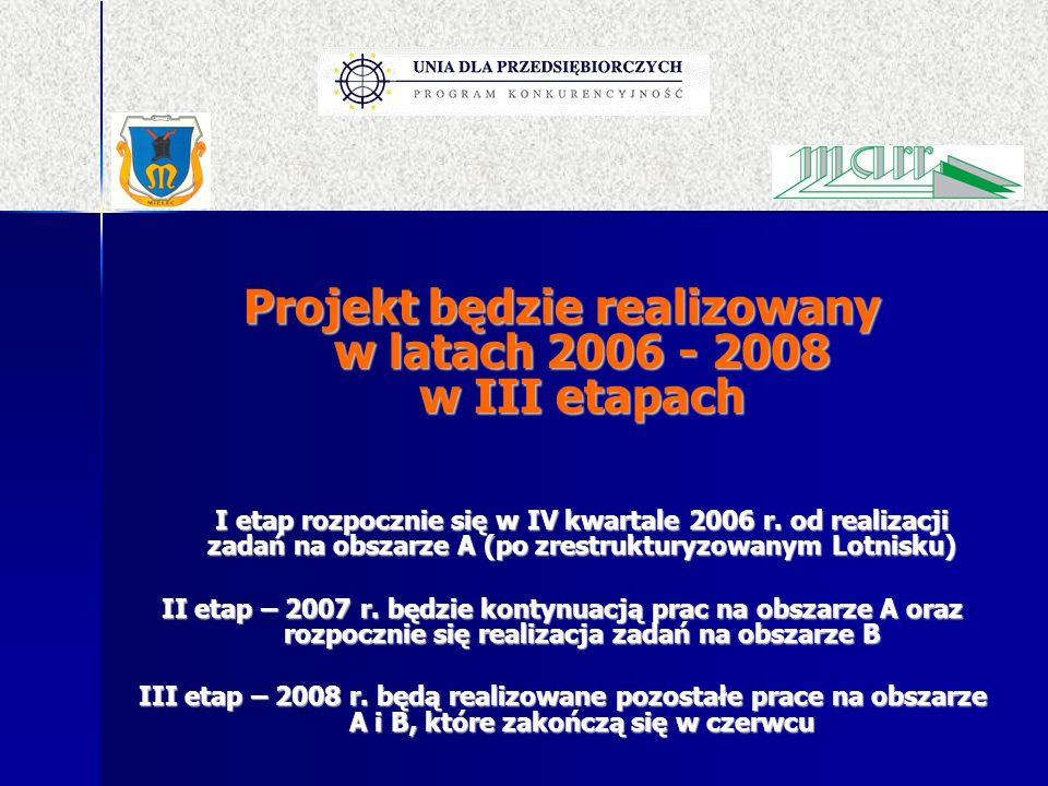 Projekt będzie realizowany w latach 2006 - 2008 w III etapach