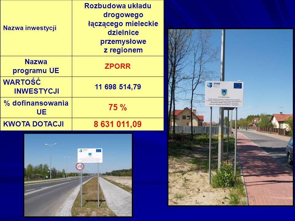 Nazwa inwestycji Rozbudowa układu drogowego łączącego mieleckie dzielnice przemysłowe z regionem. Nazwa.