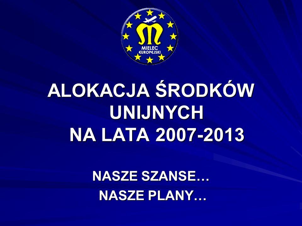ALOKACJA ŚRODKÓW UNIJNYCH NA LATA 2007-2013