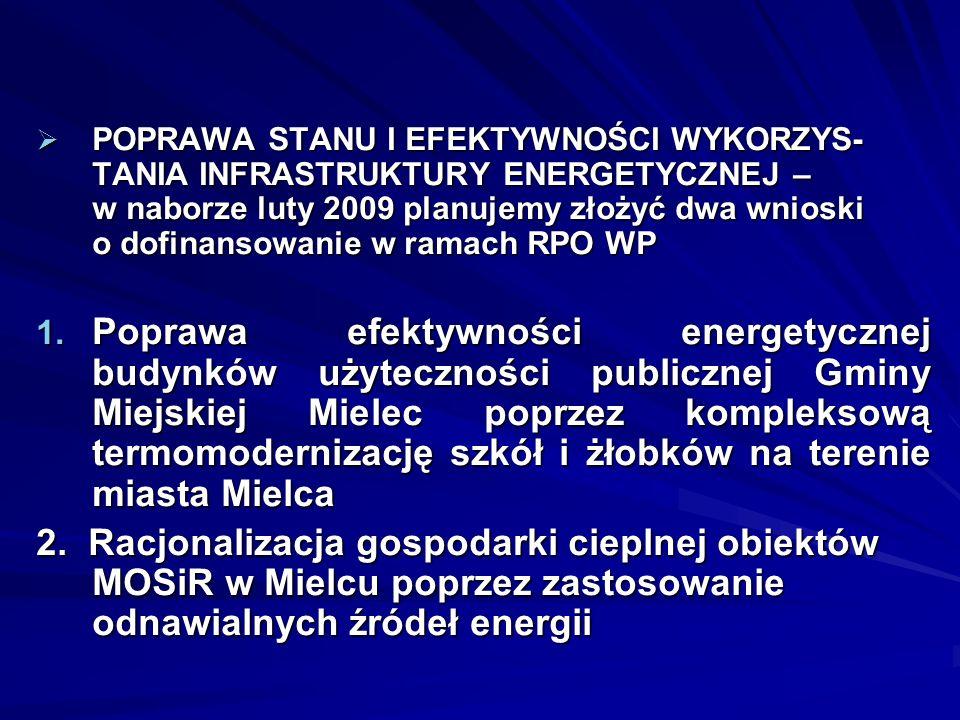 POPRAWA STANU I EFEKTYWNOŚCI WYKORZYS-TANIA INFRASTRUKTURY ENERGETYCZNEJ – w naborze luty 2009 planujemy złożyć dwa wnioski o dofinansowanie w ramach RPO WP