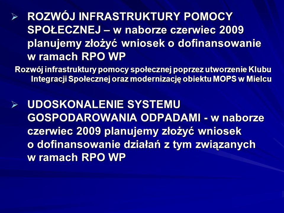 ROZWÓJ INFRASTRUKTURY POMOCY SPOŁECZNEJ – w naborze czerwiec 2009 planujemy złożyć wniosek o dofinansowanie w ramach RPO WP