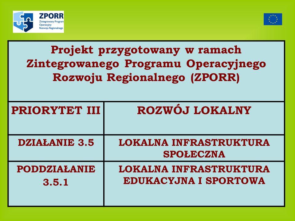 Projekt przygotowany w ramach Zintegrowanego Programu Operacyjnego Rozwoju Regionalnego (ZPORR)